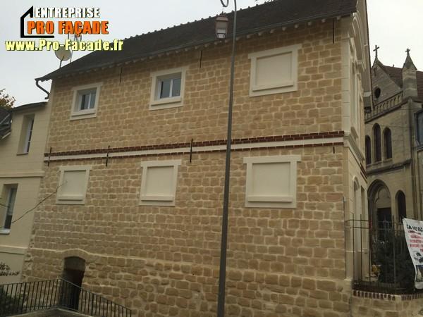 Chantier de rejointement façade en pierres sur Beaumont Sur Oise 95260 après